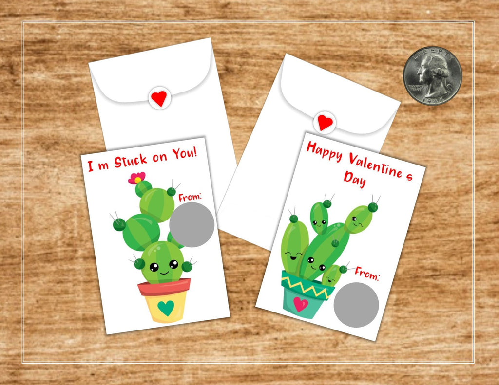 Cute Cactus Valentine's Day Scratch Off Cards - Cathy's Creations - www.candywrappershop.com