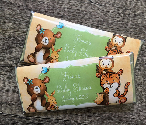 Woodland Baby Animal Candy Bar Wrapper - Cathy's Creations - www.candywrappershop.com