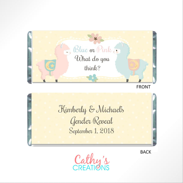 Llama Gender Reveal Candy Bar Wrapper - Cathy's Creations - www.candywrappershop.com