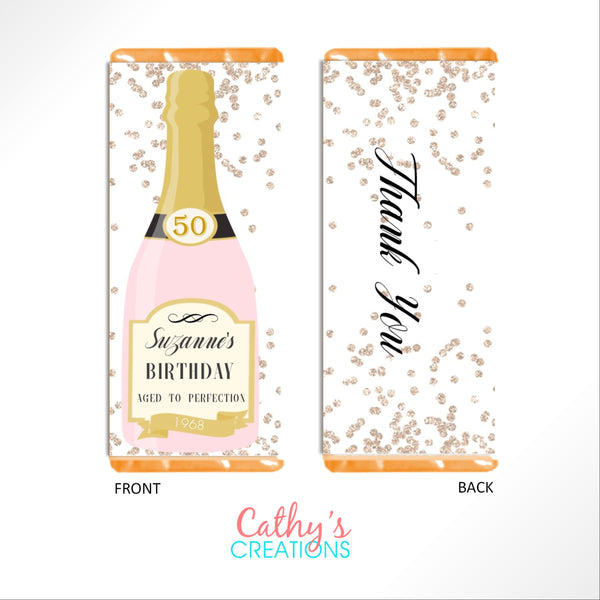 Champagne Bottle Candy Bar Wrapper - Cathy's Creations - www.candywrappershop.com