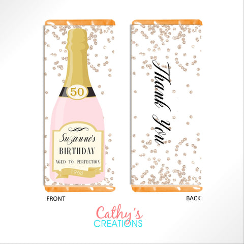 Champagne Bottle Candy Wrapper Candy Bar Wrapper- Cathy's Creations - www.candywrappershop.com