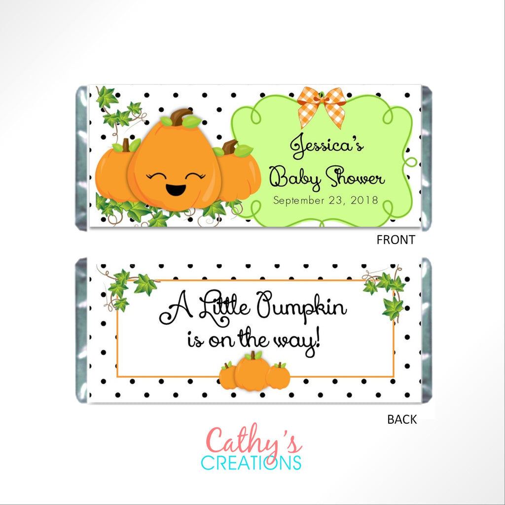 Pumpkin Baby Candy Bar Wrapper - Cathy's Creations - www.candywrappershop.com