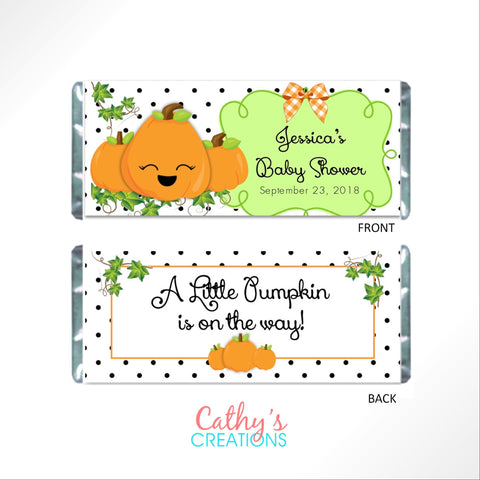 Cute Pumpkin Baby Shower Candy Bar Wrapper Candy Bar Wrapper- Cathy's Creations - www.candywrappershop.com