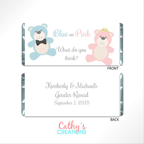 Teddy Bear Gender Reveal Candy Bar Wrapper - Cathy's Creations - www.candywrappershop.com