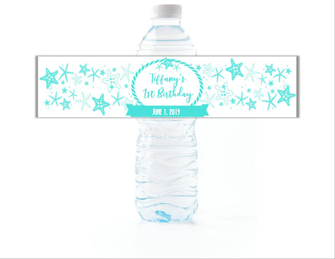 Starfish Water Bottle Labels - Cathy's Creations - www.candywrappershop.com