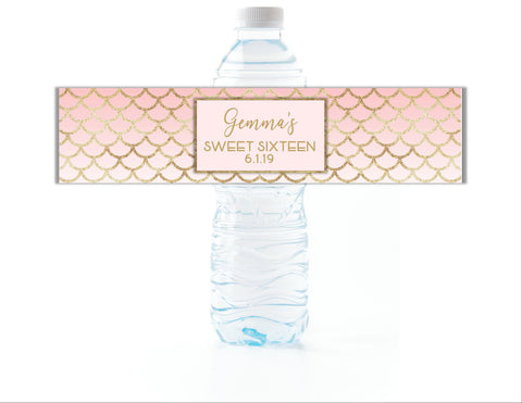 Mermaid Scales Water Bottle Labels-Water Bottle Labels-Cathy's Creations - www.candywrappershop.com