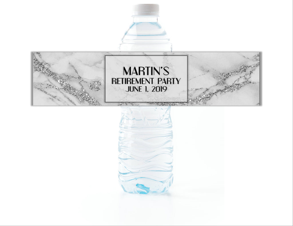 Silver Marble Water Bottle Labels - Cathy's Creations - www.candywrappershop.com