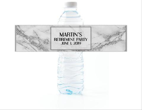 Silver Marble Water Bottle Labels-Water Bottle Labels-Cathy's Creations - www.candywrappershop.com