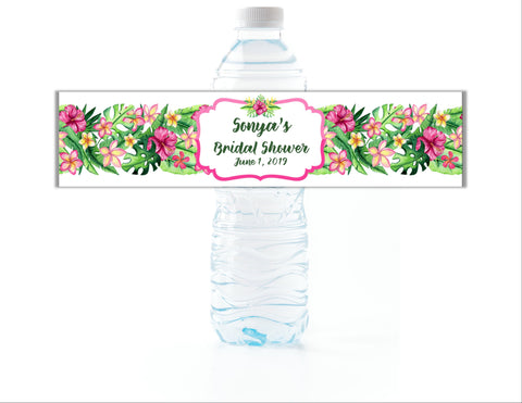 Tropical Floral Water Bottle Labels Water Bottle Labels- Cathy's Creations - www.candywrappershop.com