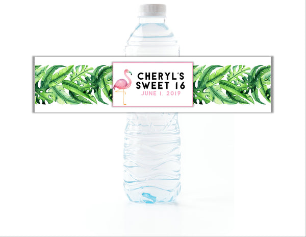 Flamingo Tropical Leaves Water Bottle Labels - Cathy's Creations - www.candywrappershop.com