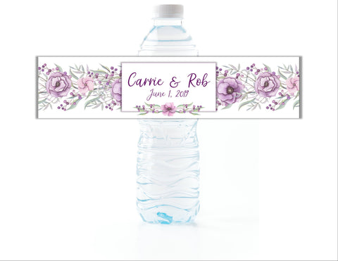 Purple Floral Water Bottle Labels - Cathy's Creations - www.candywrappershop.com