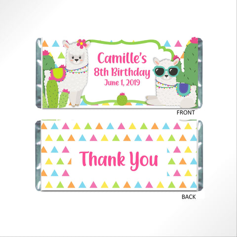 Llama Cactus Candy Wrapper Candy Bar Wrapper- Cathy's Creations - www.candywrappershop.com