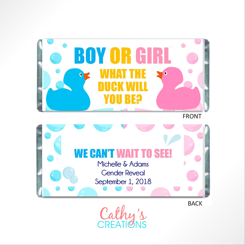 Rubber Duck Gender Reveal Candy Bar Wrapper - Cathy's Creations - www.candywrappershop.com