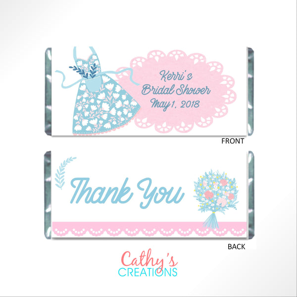 Apron Bridal Shower Candy Bar Wrapper - Cathy's Creations - www.candywrappershop.com