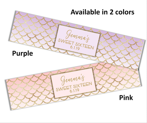 Mermaid Scales Water Bottle Labels - Cathy's Creations - www.candywrappershop.com