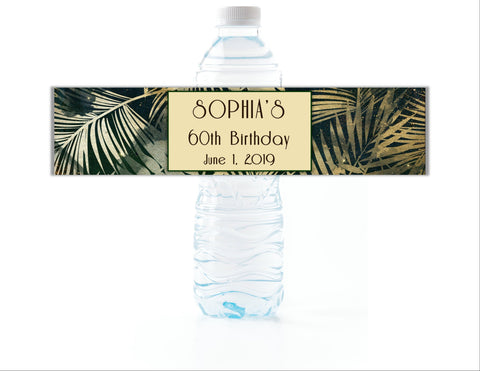 Tropical Palms Water Bottle Labels - Cathy's Creations - www.candywrappershop.com