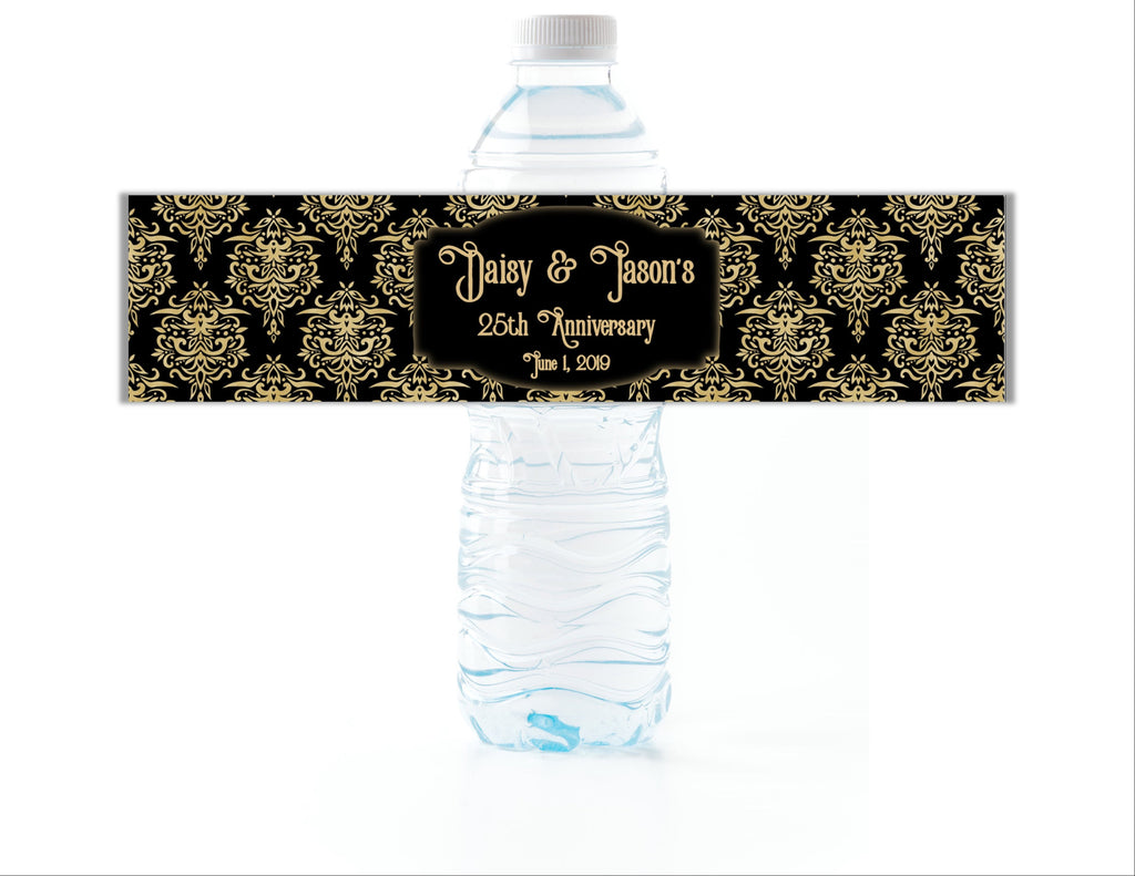 Gold and Black Damask Water Bottle Labels - Cathy's Creations - www.candywrappershop.com