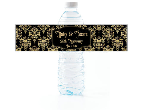 Gold and Black Damask Water Bottle Labels-Water Bottle Labels-Cathy's Creations - www.candywrappershop.com