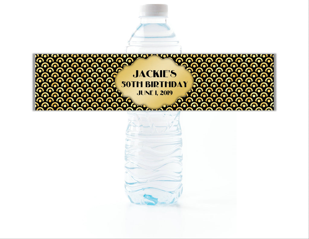 Gold and Black Water Bottle Labels - Cathy's Creations - www.candywrappershop.com