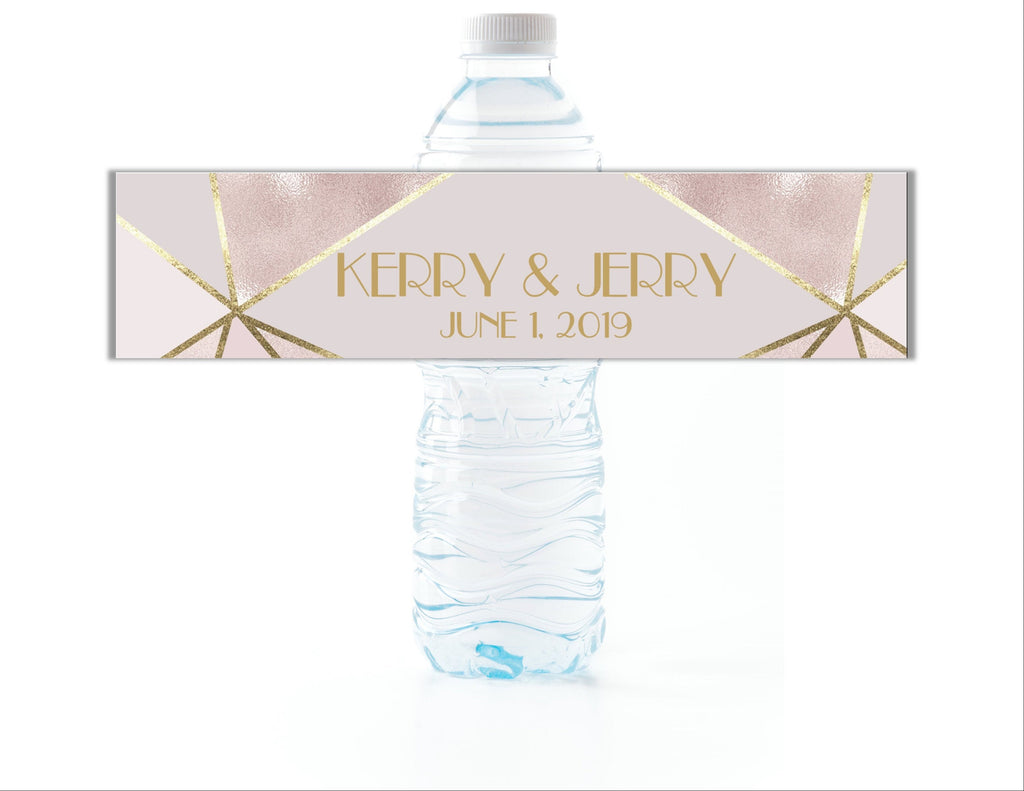Gold and Blush Geometric Water Bottle Labels - Cathy's Creations - www.candywrappershop.com