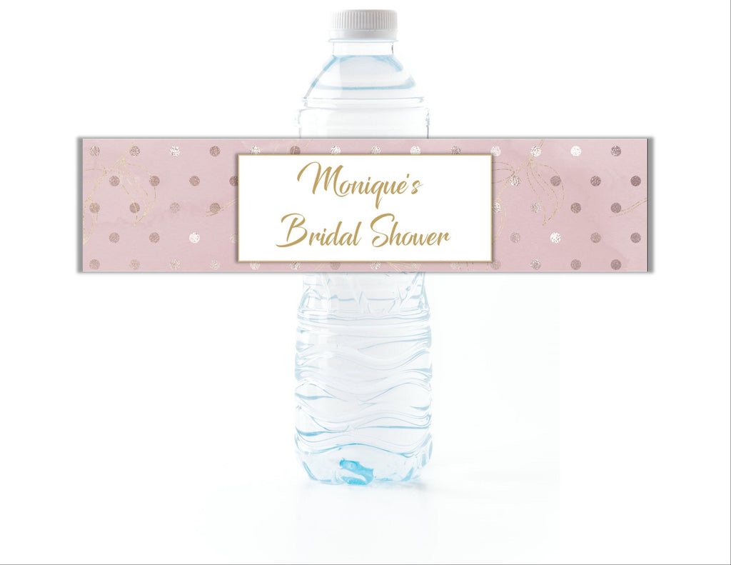 Gold and Blush Polka Dot Water Bottle Labels - Cathy's Creations - www.candywrappershop.com