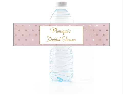 Blush with Gold Polka Dot Water Bottle Labels - Cathy's Creations - www.candywrappershop.com
