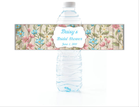 Rustic Floral Water Bottle Labels - Cathy's Creations - www.candywrappershop.com