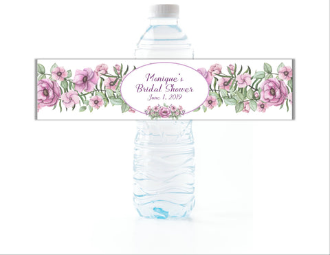 Purple Floral Water Bottle Labels Water Bottle Labels- Cathy's Creations - www.candywrappershop.com