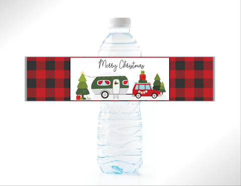 Christmas Camper Water Bottle Labels - Cathy's Creations - www.candywrappershop.com