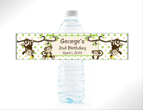 Monkey Water Bottle Labels Water Bottle Labels- Cathy's Creations - www.candywrappershop.com