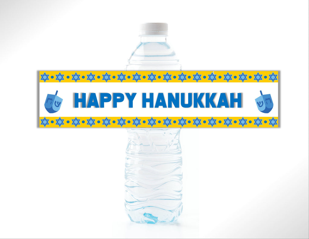 Hanukkah Water Bottle Labels - Cathy's Creations - www.candywrappershop.com