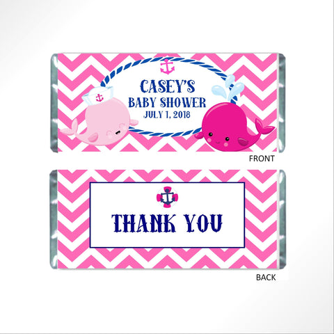 Pink Whale Candy Bar Wrapper - Cathy's Creations - www.candywrappershop.com