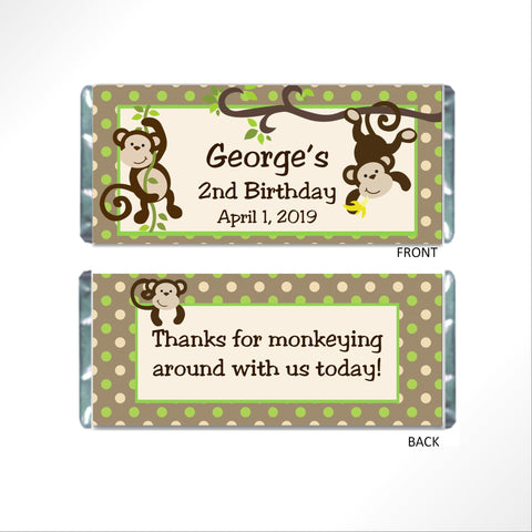 Monkey Candy Wrapper Candy Bar Wrapper- Cathy's Creations - www.candywrappershop.com