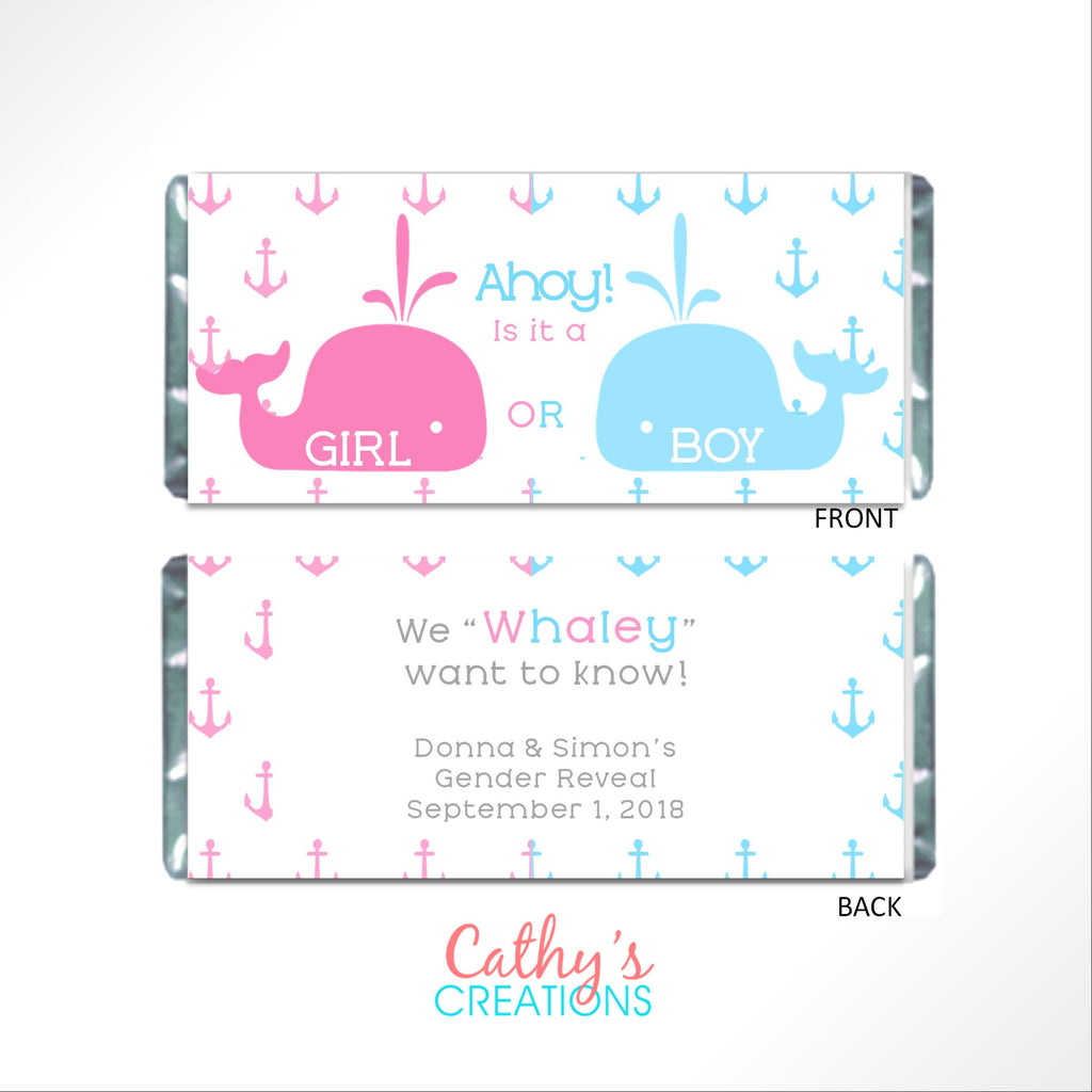 Whale Gender Reveal Candy Bar Wrapper - Cathy's Creations - www.candywrappershop.com