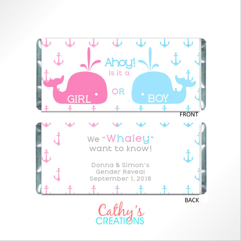 Whale Gender Reveal Candy Bar Wrapper-Candy Bar Wrapper-Cathy's Creations - www.candywrappershop.com