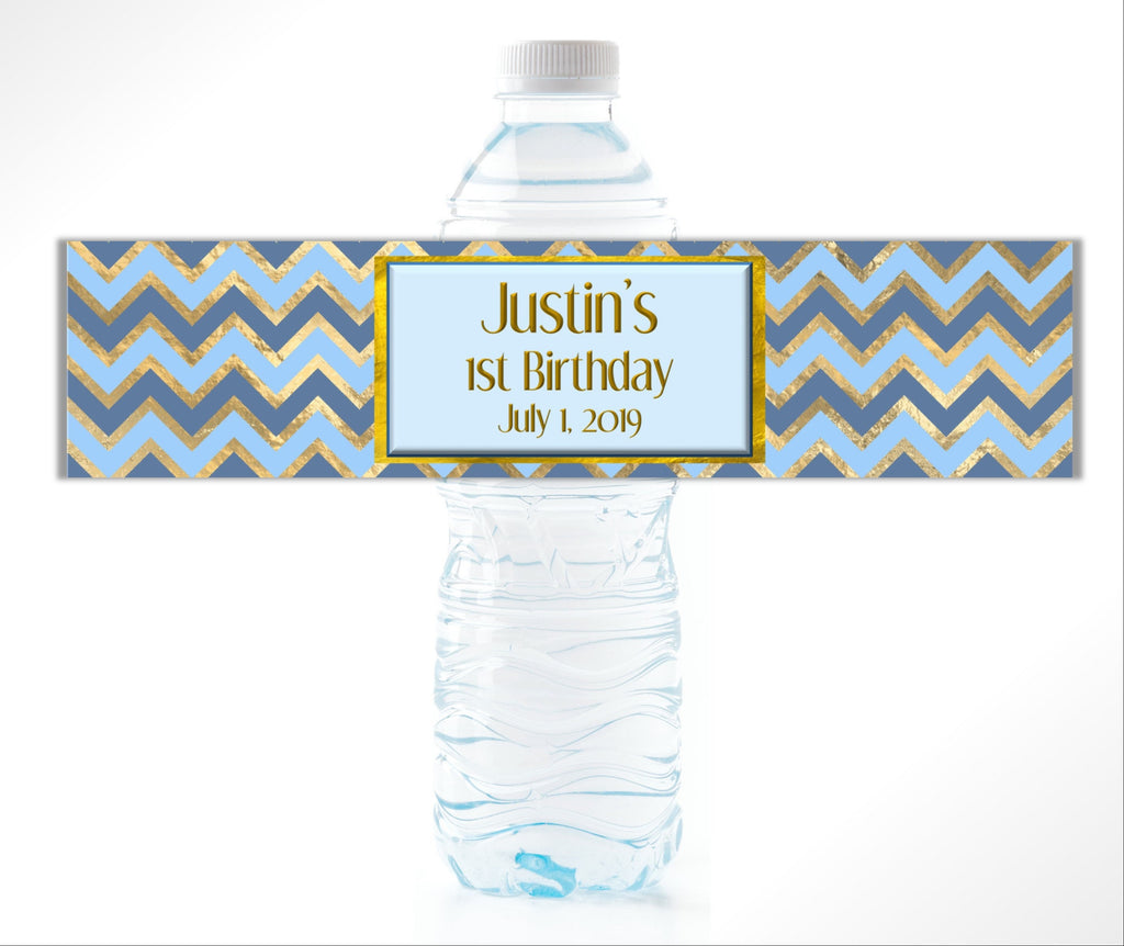 Blue and Gold Chevron Water Bottle Labels-Water Bottle Labels-Cathy's Creations - www.candywrappershop.com