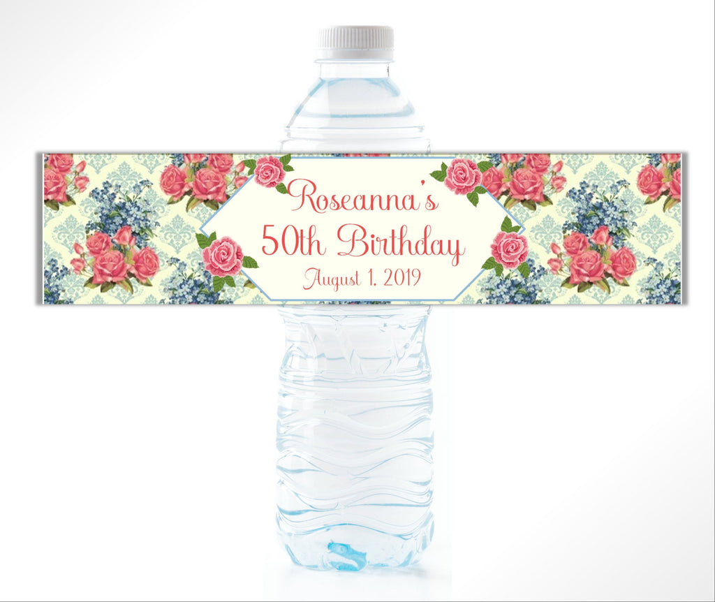 Rose Damask Water Bottle Labels - Cathy's Creations - www.candywrappershop.com