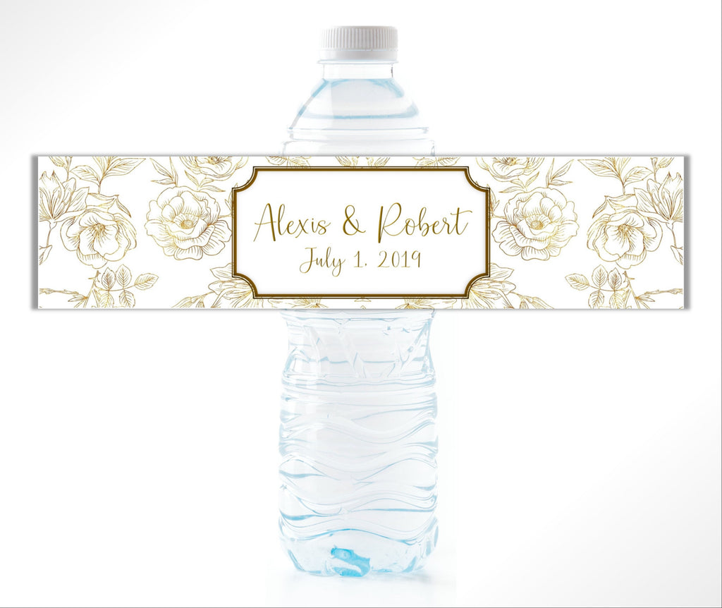 Gold Floral Water Bottle Labels - Cathy's Creations - www.candywrappershop.com