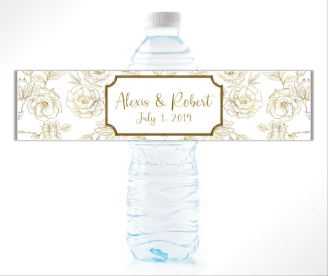 Gold Floral Water Bottle Labels Water Bottle Labels- Cathy's Creations - www.candywrappershop.com