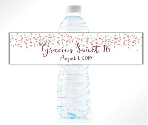 Glitter Confetti Water Bottle Labels Water Bottle Labels- Cathy's Creations - www.candywrappershop.com