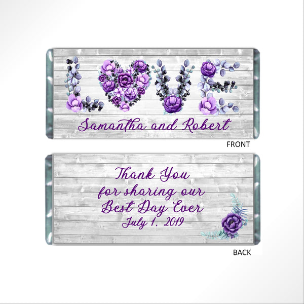 Rustic Floral Love Candy Bar Wrapper-Candy Bar Wrapper-Cathy's Creations - www.candywrappershop.com