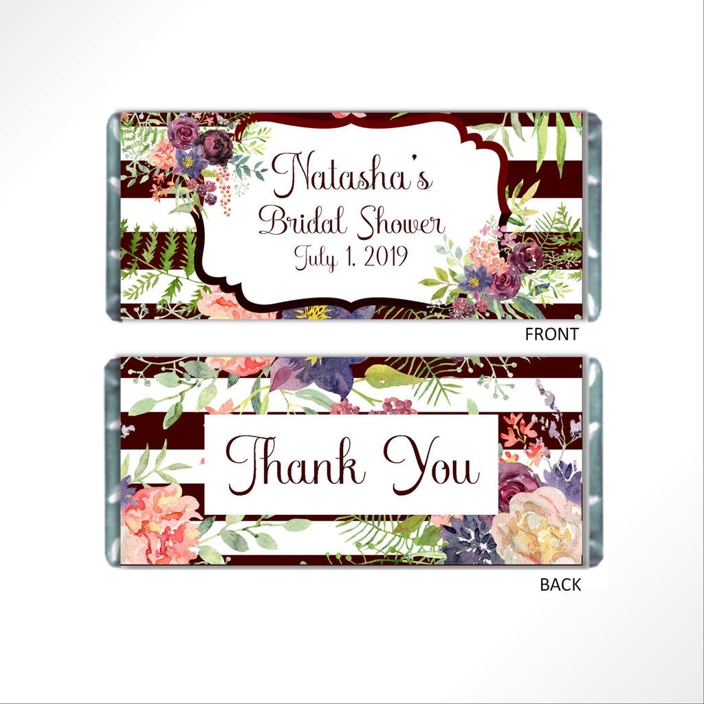 Burgundy Floral Candy Bar Wrapper - Cathy's Creations - www.candywrappershop.com