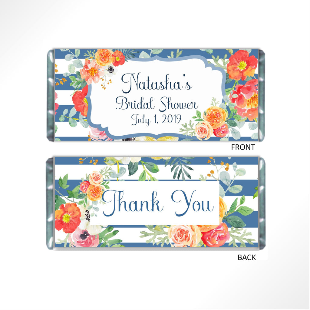 Blue Floral Candy Bar Wrapper - Cathy's Creations - www.candywrappershop.com