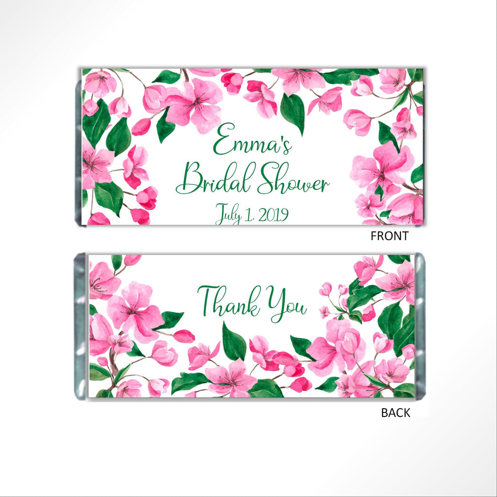 Pink Floral Candy Bar Wrapper - Cathy's Creations - www.candywrappershop.com