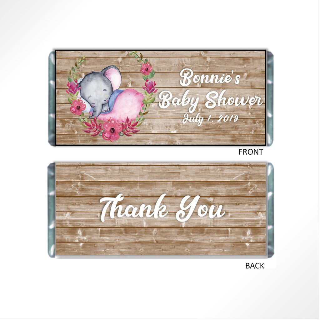 Rustic Baby Elephant Candy Bar Wrapper-Candy Bar Wrapper-Cathy's Creations - www.candywrappershop.com