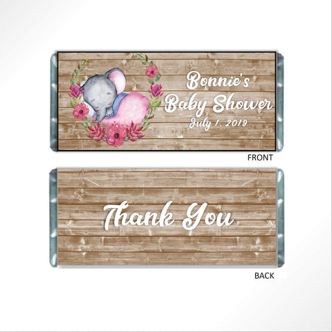 Rustic Baby Elephant Candy Bar Wrapper - Cathy's Creations - www.candywrappershop.com