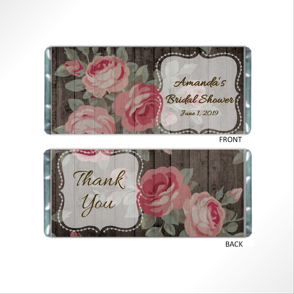 Floral Rose Candy Bar Wrapper - Cathy's Creations - www.candywrappershop.com