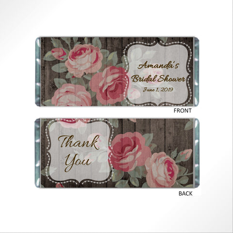 cathy-wraps - Floral Rose Candy Bar Wrapper Favors - Candy Bar Wrapper