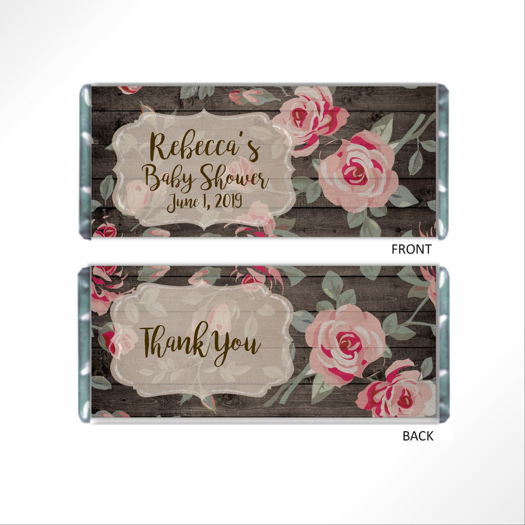Pink Rose Floral Candy Bar Wrapper - Cathy's Creations - www.candywrappershop.com