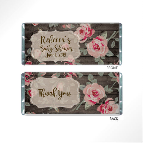 Pink Rose Floral Candy Bar Wrapper Candy Bar Wrapper- Cathy's Creations - www.candywrappershop.com